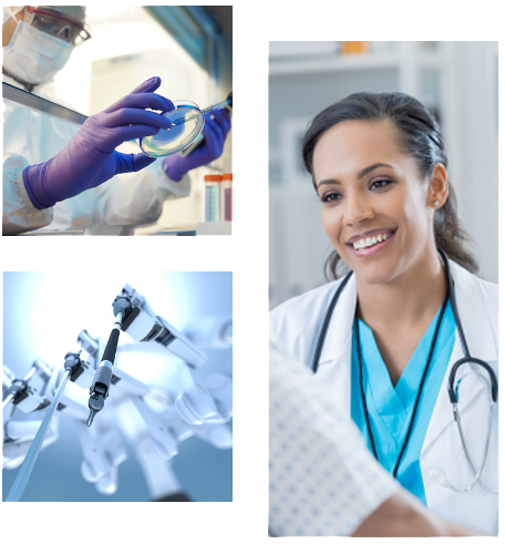 3 image collage. Top left image is a doctor holding a petri dish. Right image is a female doctor smiling. Bottom left image is a medical robot arm.