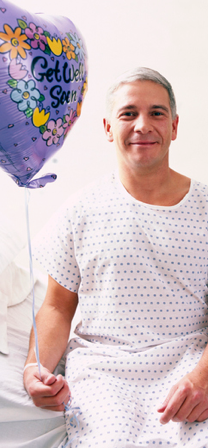 Man in Hospital with Balloon